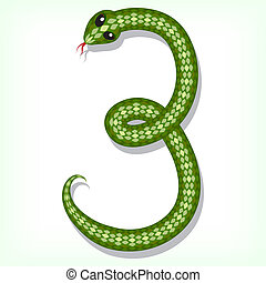 Snake font. Digit 3 - Font made from green snake. Digit 3