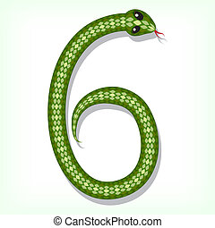 Snake font Digit 6 - Font made from green snake Digit 6