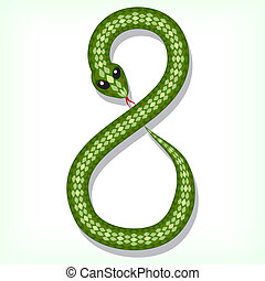 Snake font. Digit 8 - Font made from green snake. Digit 8