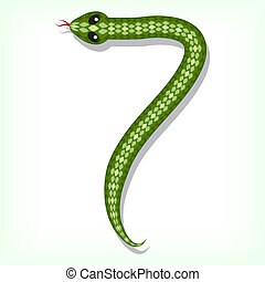 Snake font. Digit 7 - Font made from green snake. Digit 7