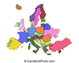 3d rendering of a map of Europe in bright colors