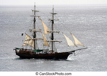 Pirate Ship Sailing - A close shot of a pirate ship that is...