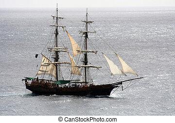 pirata, navio, velejando