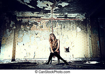 homeless - Beautiful lonely woman in the old house