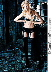 underwear - Beautiful lonely woman in the old house.