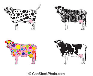 mutated cows - set of cows in different appearence, mutated...