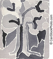 Abstract painting - tree in grey shades