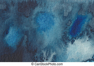 Abstract watercolour painting in blue shades