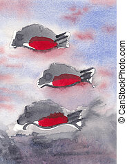 Fishes - watercolour painting - Three red and grey fishes -...