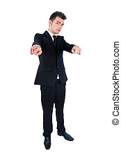 Business man isolated - Isolated young business man pointing