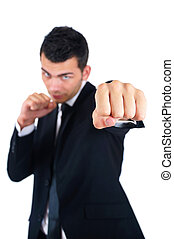 Isolated Business Man - Isolated Young Business Man Boxing