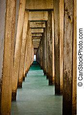 Abstract lines below pier at Panama City Beach, Florida