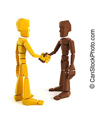 two symbolic human make an agreement