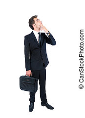 Business man isolated - Isolated young business man thinking