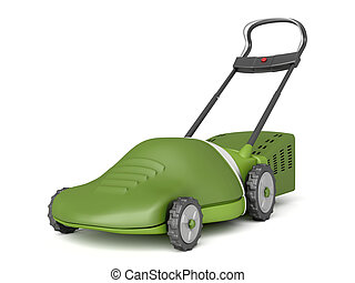 Lawn mower - Electric lawn mower on white background