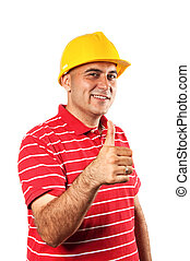 Young construction worker in red shirt wearing yellow hard...