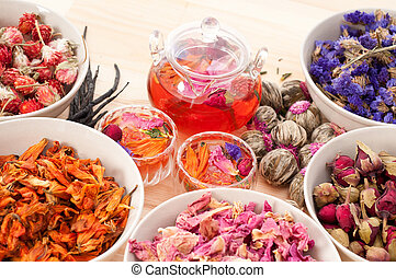 Herbal natural floral tea infusion with dry flowers...