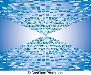 Abstract Blue Boxes Vanish - Abstract blue boxes background...