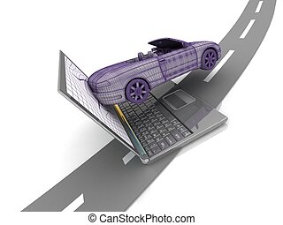 model car crash from the laptop on the road