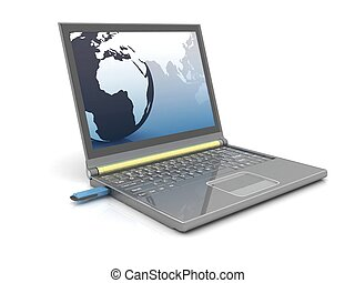 3d usb flash memory and laptop