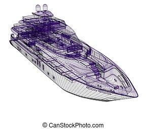 3D, modèle, yacht