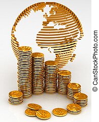Gold globe with many gold coins - Gold globe with many gold...