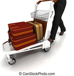 man rolls light cart with luggage - man rolls light cart...