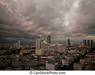 Time lapse Bangkok ominous clouds - Time lapse cityscape...