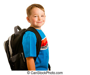 Back to school education concept with portrait of child wearing backpack isolated on white