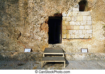 Garden Tomb in Jerusalem, Israel. The tomb is believed by...