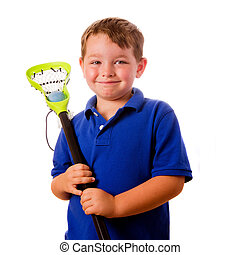 Child lacrosse player with his stick and ball isolated on...