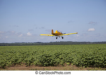 Centered Crop Dusting Plane - A yellow airplane flies...