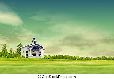 House on green field landscape with sky
