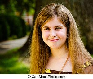 夏天, 年輕, 相當, 孩子, 肖像, 微笑, 女孩