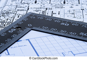 Blue prints and ruler - Set of architectural design blue...