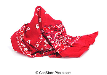 red bandana - paisley patterned red bandana on a white white...