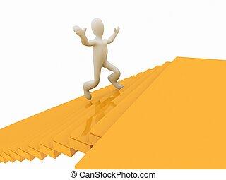 man running along the golden fores - 3d man running along...