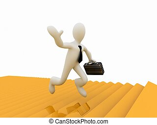 dorado, éxito, Funcionamiento, bosque, hombre de negocios, por,  3D