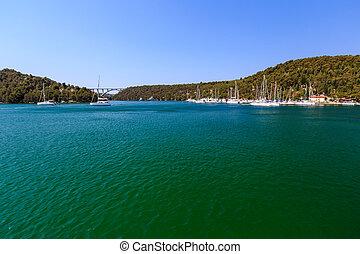 National Park Krka and Marina near Town of Skradin, Croatia