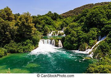 National Park Krka and Cascade of Waterfalls on River Krka,...