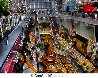 3D Modern Shopping Mall Painting - Unique Modern Shopping...