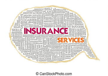 Wordcloud on texture paper speech bubble, Insurance concept