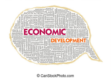 Wordcloud on texture paper speech bubble, Economic...