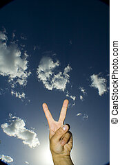 Peace Fingers up in the air