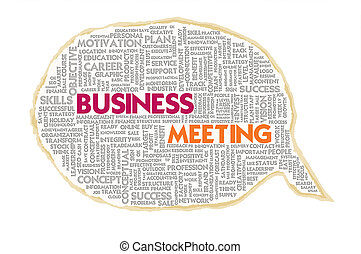 Wordcloud on texture paper speech bubble, Business Meeting