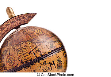 Close up of antique small globe