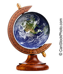 Image of planet earth on stand for antique globe, with elements of this image furnished by NASA