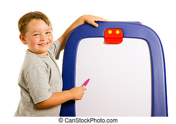 Child pointing at dry erase board with room for your text