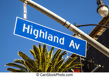 street sign Highland Av in Hollywood