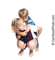 Sister and brother hugging each other
